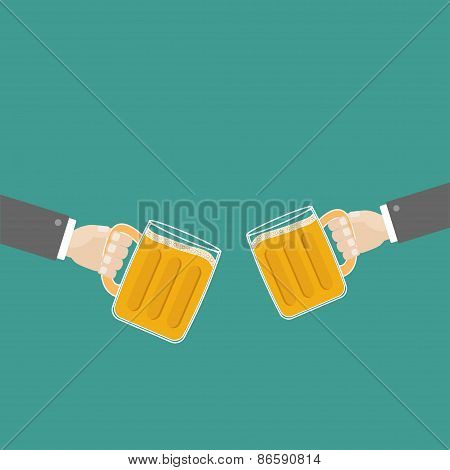 Two Hands And Clink Beer Glasses Mug With Foam Cap Froth Bubble. Flat Design