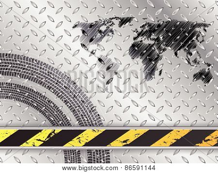 Industrial Background With Map And Tire Treads