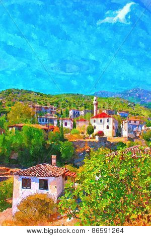 A Digitally Constructed Painting Of The Old Turkish Village Of Doganbey