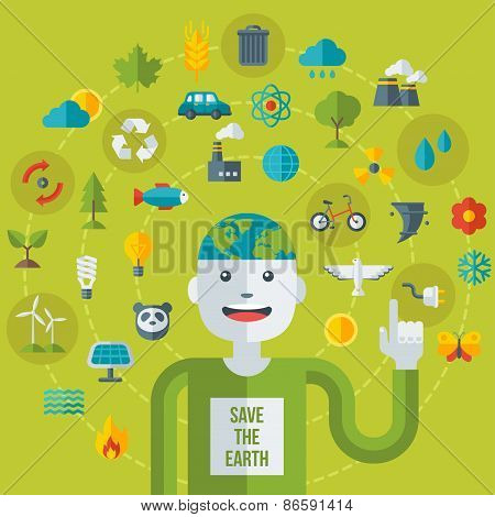 Creative concept of Ecology Science. Vector illustration.