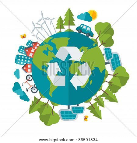 Eco Friendly, green energy concept, vector illustration