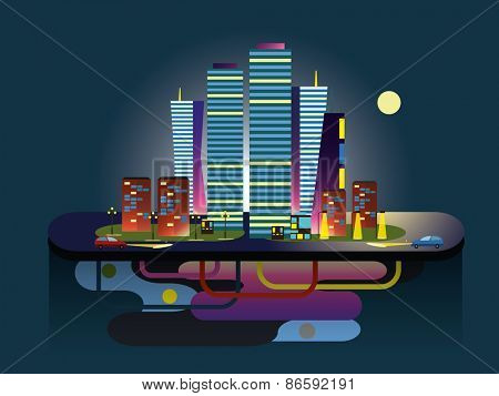 Midnight City.  Vector illustration of apartment blocks in a city at night.