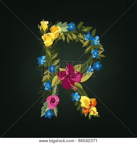 R letter. Flower capital alphabet. Colorful font. Uppercase.
