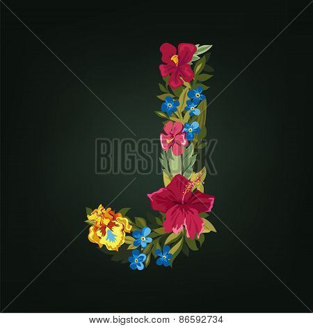 J letter. Flower capital alphabet. Colorful font. Uppercase.