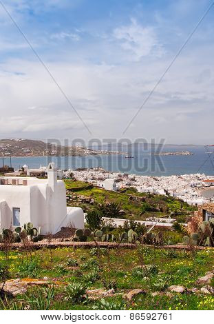 Top View Of Mykonos Town Through The Medows. Greece.