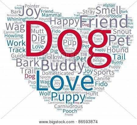 Dog Heart Shaped Word Cloud