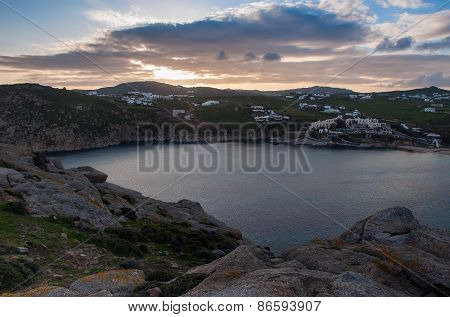 Sea Bay At Sunset On The Island Of Mykonos - Agia Anna. Greece. Top View.