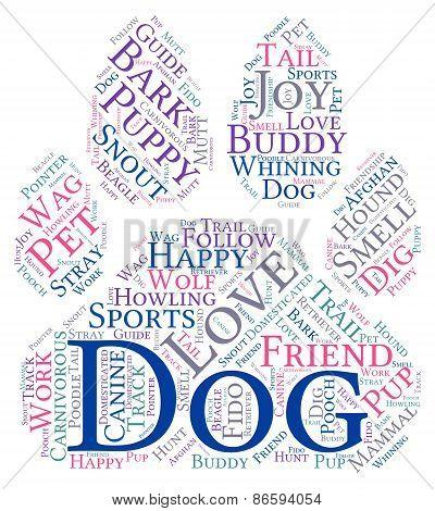 Paw Shaped Dog Word Cloud