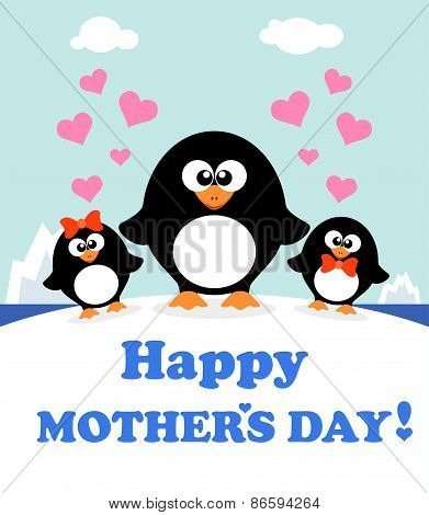 Mother's day background with penguins
