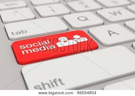 Keyboard - Social Media - Red