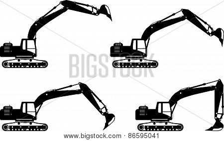 Excavators. Heavy construction machines. Vector illustration
