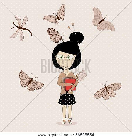 Cute Girl And Butterflies