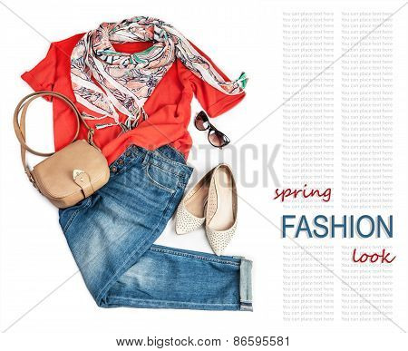 Casual Fashion Look For Spring With Jeans And Bright Pullover