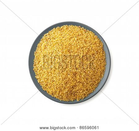 Plate Of Bulgur Isolated On White Background