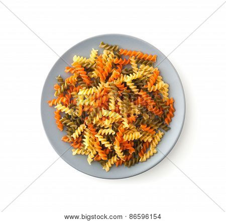 Colorful Rotini Corkscrew Pasta With Vegetables On Plate