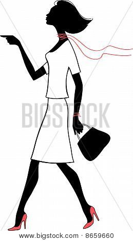 Silhouette Beauty Woman With Bag