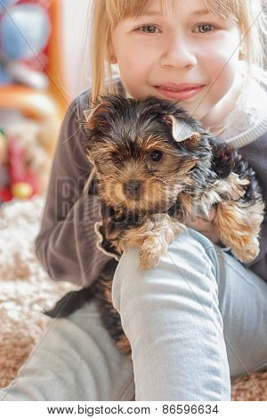 Little girl hugging  Yorkshire Terrier
