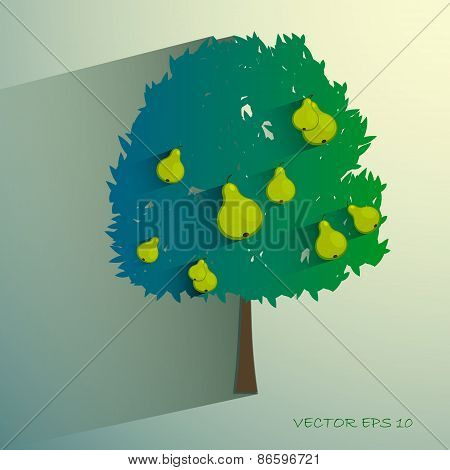 vector pear tree isolated on light background