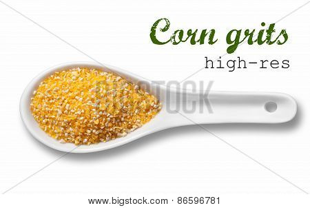 Yellow Corn Grits In White Porcelain Spoon / High Resolution Product Photography Of Seed In White Po