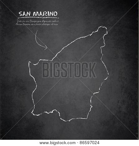San Marino map blackboard chalkboard vector