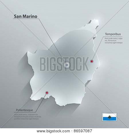 San Marino map glass card paper 3D vector