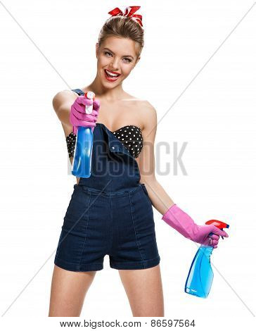 Beautiful Maid Wearing Pink Rubber Protective Gloves Holding Cleaning Spray Bottles