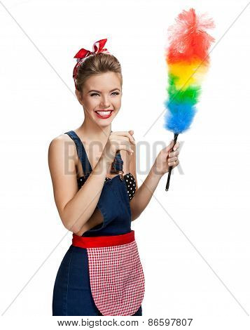 Young Beautiful Cleaning Maid Holding Colorful Static Duster And Smiling / Young Beautiful American