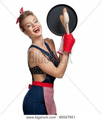 Attractive Housewife Wearing Apron With Kitchen Utensils / Young Beautiful American Pin-up Girl Isol