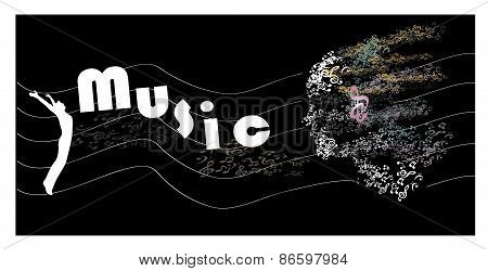 music background, music note  head