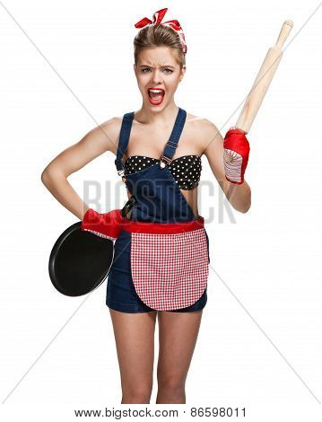 Shrewish Maid Wearing Apron With Wooden Rolling Pin And Black Frying Pan / Young Beautiful American