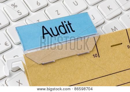 A Brown File Folder Labeled With Audit