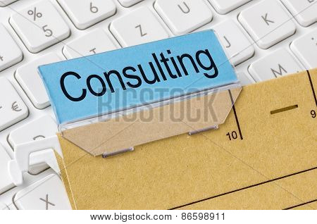 A Brown File Folder Labeled With Consulting