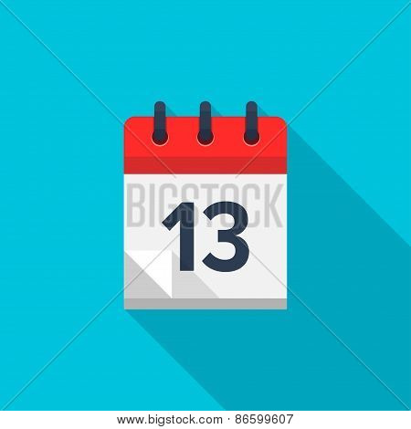 Flat calendar icon. Date and time background. Number 13