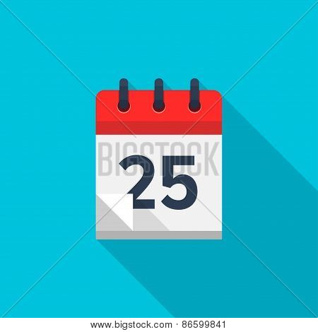 Flat calendar icon. Date and time background. Number 25