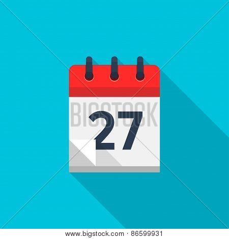 Flat calendar icon. Date and time background. Number 27