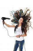 picture of brunette hair  - Female drying her hair with hair - JPG