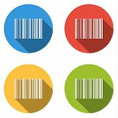 picture of barcode  - Set of 4 isolated flat colorful buttons  - JPG