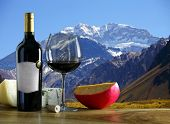 stock photo of aconcagua  - Argentine wine and cheese Aconcagua mountain in the background - JPG