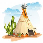stock photo of wigwams  - Illustration of the North American Indian tipi home with cactus and stones - JPG