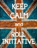 stock photo of union  - Keep Calm and Roll Initiative. United Kingdom (British Union jack) flag vintage hand drawing with chalk on blackboard humor concept image - JPG