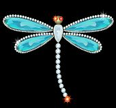stock photo of aquamarine  - Dragonfly brooch diamond - JPG