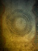 foto of steampunk  - steampunk grunge papel with metal gold walls - JPG