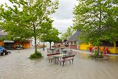 foto of flood  - Roads and streets submerged by the flood - JPG