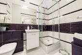 image of shower-cubicle  - Modern bathroom with shower cubicle in violet color - JPG