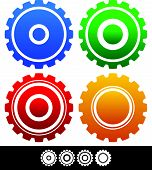 picture of rework  - Eps 10 Vector Illustration of Different isolated shapes or silhouettes of gears cogwheels gearwheels or cogs in different colors - JPG