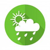 pic of barometer  - rain green flat icon weather forecast sign  - JPG