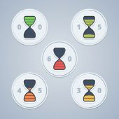 stock photo of countdown timer  - Hourglass timer icons with color gradation and numbers in flat style on a light background - JPG