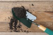 stock photo of household farm  - soil and gardening tools on wooden plank - JPG