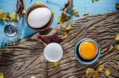 image of duck egg blue  - Fresh farm eggs on a wooden rustic background - JPG