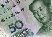 image of yuan  - Chinese 50 yuan notes with language characters - JPG